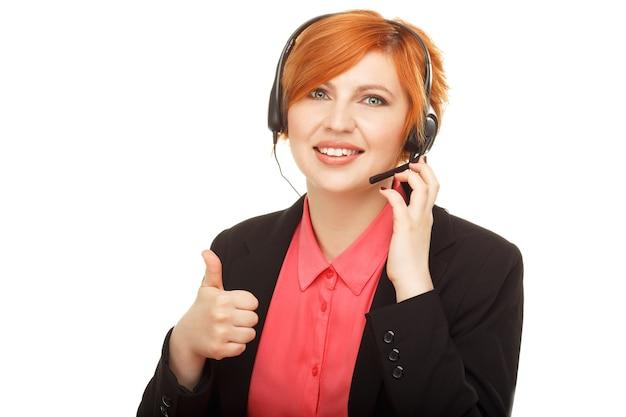 Close-upportret van de vrouwelijke medewerker van de klantenservice