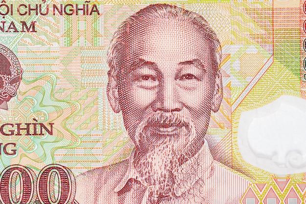 Close-upportret van ho chi minh op het vietnamese bankbiljet, het papiergeld van vietnam