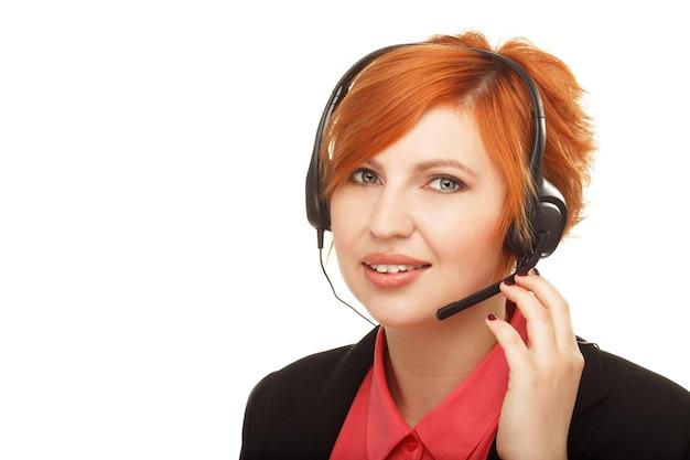 Close-upportret van vrouwelijke klantenservicemedewerker of callcenter