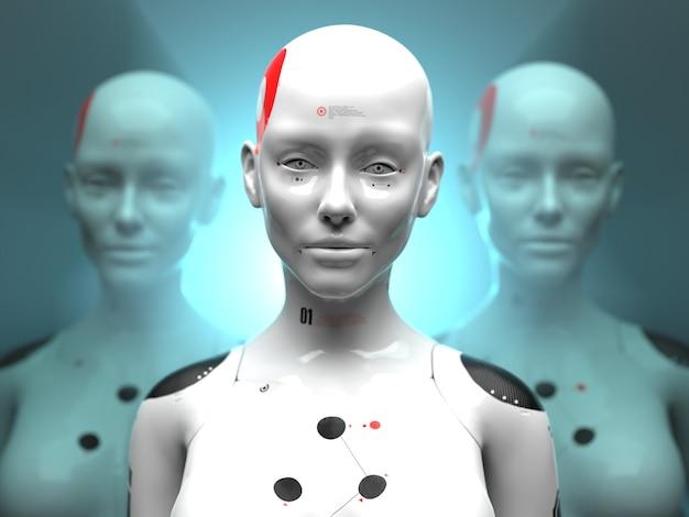 Close-upportretten van vrouwelijke robots