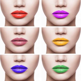 Close-upreeks vrouwenlippen met verschillende kleur van lippenstift. binnen geïsoleerd op een witte achtergrond.