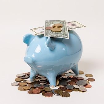 Close-upspaarvarken met bankbiljetten en muntstukken