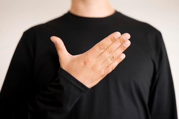 Close-uptolk die gebarentaal onderwijst