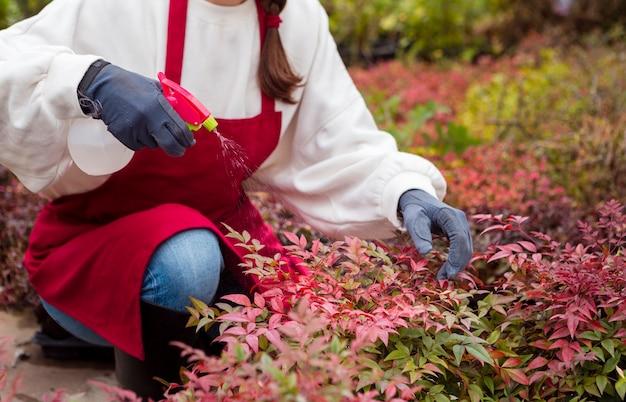 Close-upvrouw die het tuinieren kleren dragen die installaties bespuiten