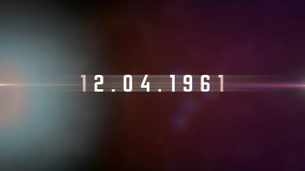 Closeup 12.04.1961 tekst met beweging neonlichten in melkweg, abstracte futuristische achtergrond. elegante en luxe 3d-illustratiestijl voor kosmos en sci-fi-thema