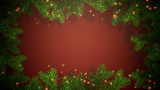 Closeup abstracte bokeh en kerst groene takken op rode achtergrond. luxe en elegante dynamische stijl 3d illustratie voor wintervakantie