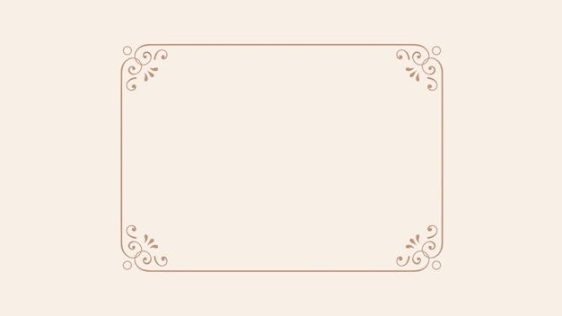 Closeup bloemen en frame op bruine achtergrond. elegante en luxe 3d-illustratie in retrostijl uit de jaren 80, 90
