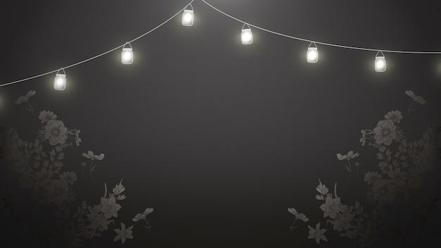 Closeup bloemen op zwart hout, bruiloft achtergrond met lampen. elegante en luxe pastelstijl 3d-illustratie
