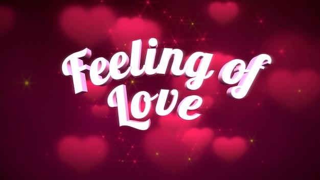 Closeup gevoel van liefde tekst en romantisch hart op valentijnsdag glanzende achtergrond. luxe en elegante stijl 3d illustratie voor vakantie