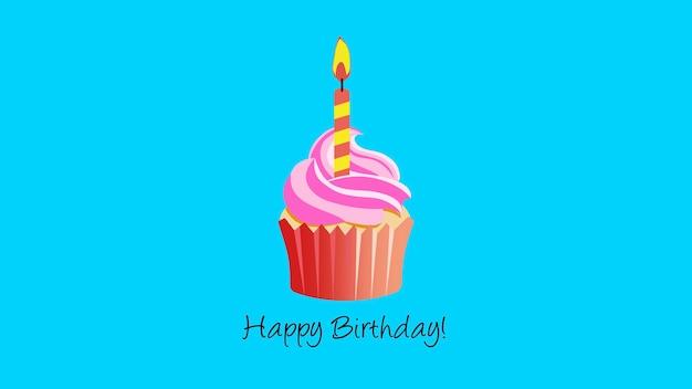 Closeup happy birthday tekst met taart en kaars op vakantie blauwe achtergrond. luxe en elegante dynamische stijlsjabloon voor kerstkaart, 3d illustratie