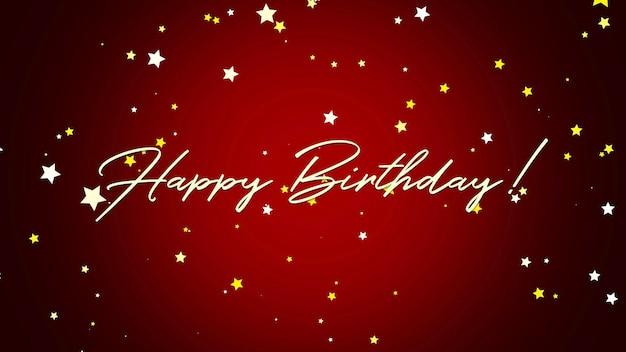 Closeup happy birthday tekst op rode achtergrond. luxe en elegante stijl 3d illustratie voor vakantie