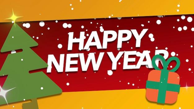 Closeup happy new year tekst en vliegen sneeuwvlokken met geschenken op vakantie achtergrond. luxe en elegante 3d-illustratiestijlsjabloon voor wintervakantie
