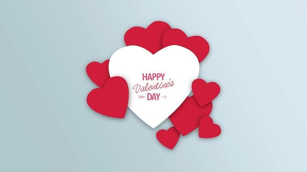 Closeup happy valentines day tekst en beweging romantische rode en witte harten op valentijnsdag achtergrond. luxe en elegante dynamische stijl 3d illustratie voor vakantie