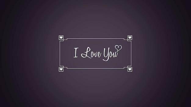 Closeup ik hou van jou tekst en harten op paarse valentines achtergrond. luxe en elegante dynamische stijl 3d illustratie voor vakantie