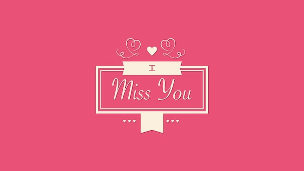 Closeup ik mis je tekst en beweging rode harten en frame op valentines achtergrond. luxe en elegante dynamische stijl 3d illustratie voor vakantie