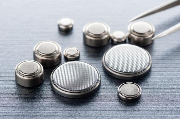 Closeup knoopcel batterij of horloge batterij of knoopcel.