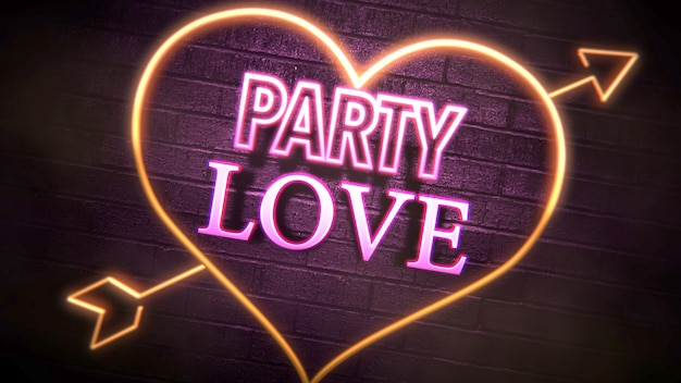Closeup party love tekst en romantisch hart op valentijnsdag glanzende achtergrond. luxe en elegante stijl 3d illustratie voor vakantie