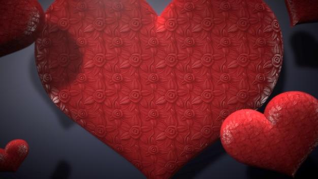 Closeup romantisch hart op valentijnsdag glanzende achtergrond. luxe en elegante stijl 3d illustratie voor vakantie