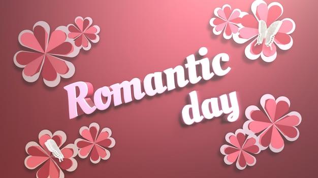 Closeup romantische dag tekst en romantisch hart op valentijnsdag glanzende achtergrond. luxe en elegante stijl 3d illustratie voor vakantie