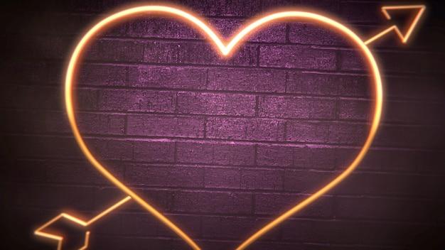 Closeup romantische hart en wijnglazen op valentijnsdag glanzende achtergrond. luxe en elegante stijl 3d illustratie voor vakantie