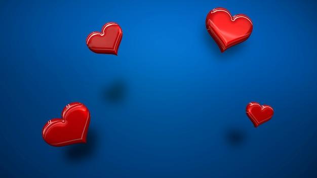 Closeup romantische kleine hartjes op valentijnsdag glanzende achtergrond. luxe en elegante stijl 3d illustratie voor vakantie