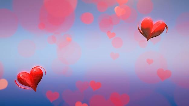 Closeup romantische kleine rode harten op valentijnsdag glanzende achtergrond. luxe en elegante stijl 3d illustratie voor vakantie