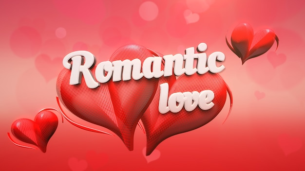Closeup romantische liefde tekst en romantisch hart op valentijnsdag glanzende achtergrond. luxe en elegante stijl 3d illustratie voor vakantie