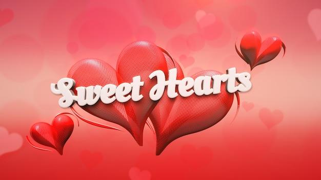 Closeup sweet hearts tekst en romantisch hart op valentijnsdag glanzende achtergrond. luxe en elegante stijl 3d illustratie voor vakantie