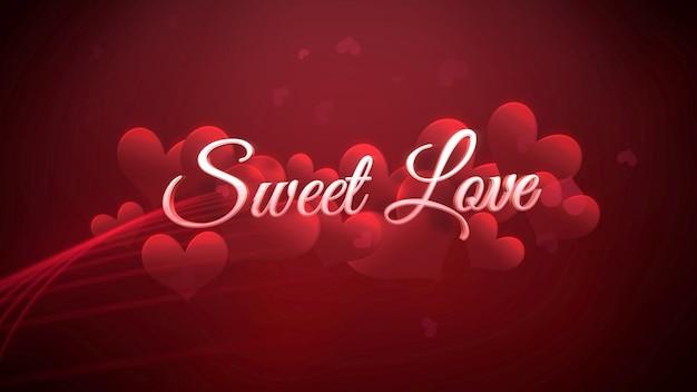 Closeup sweet love tekst en romantisch hart op valentijnsdag glanzende achtergrond. luxe en elegante stijl 3d illustratie voor vakantie