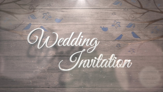 Closeup tekst bruiloft uitnodiging en blauwe vogels op boom, bruiloft achtergrond. elegante en luxe pastel 3d-illustratiestijl