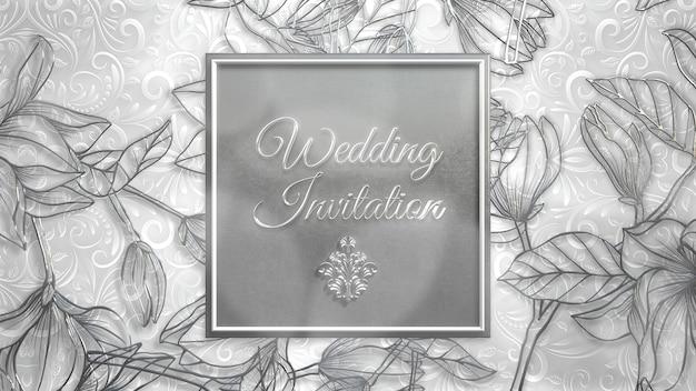 Closeup tekst bruiloft uitnodiging en witte zomerbloemen, bruiloft achtergrond. elegante en luxe pastel 3d-illustratiestijl