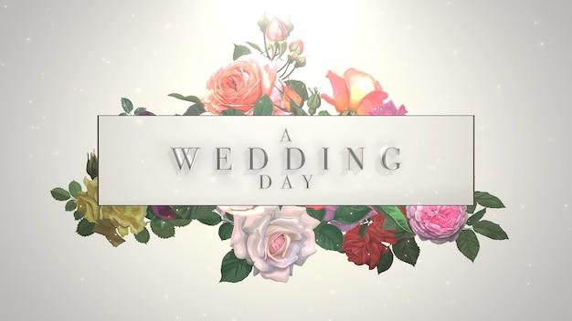 Closeup tekst trouwdag en vintage frame met zomerbloemen, bruiloft achtergrond. elegante en luxe pastel 3d-illustratiestijl