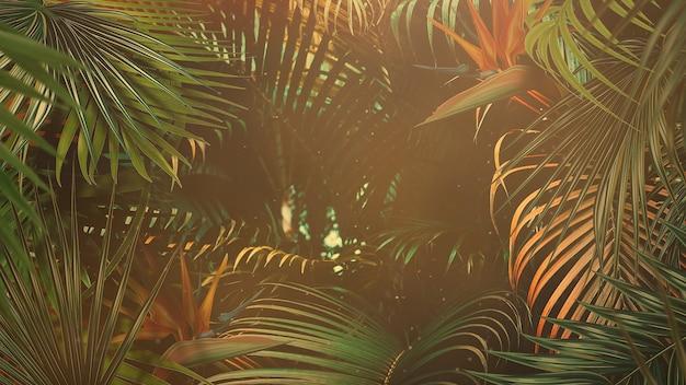 Closeup tropisch blad van bomen, zomer achtergrond. elegante en luxe 3d-illustratie in retrostijl uit de jaren 80, 90