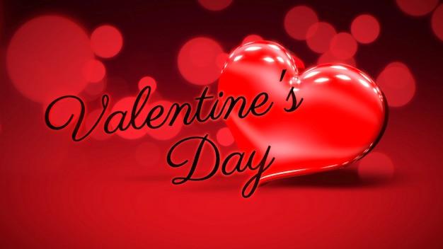 Closeup valentijnsdag tekst en romantisch hart op liefde glanzende achtergrond. luxe en elegante stijl 3d illustratie voor vakantie