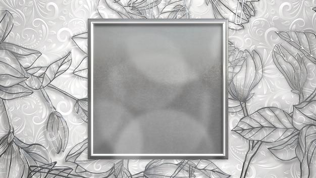 Closeup vintage frame met bloemen, bruiloft achtergrond. elegante en luxe pastelstijl 3d-illustratie