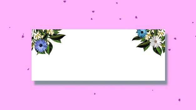 Closeup vintage frame voor tekst en zomerbloemen, bruiloft achtergrond. elegante en luxe pastel 3d-illustratiestijl voor bruiloft of romantisch thema