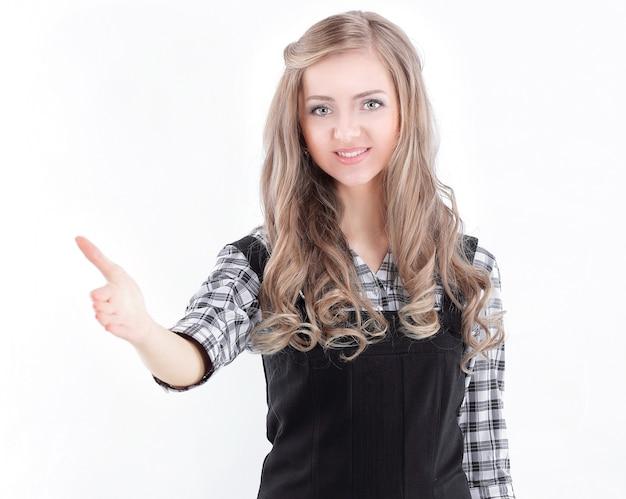 Closeup.young zakenvrouw hand uitrekken voor handdruk