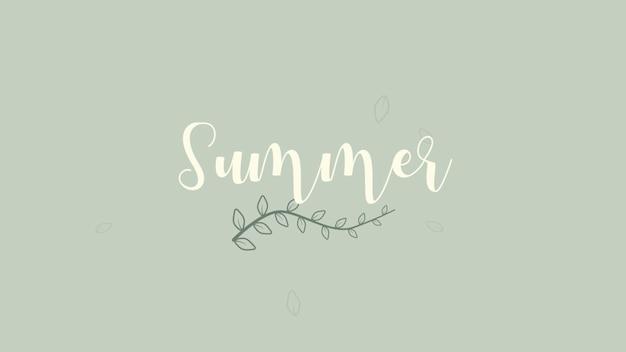 Closeup zomer tekst en bloemen op groene achtergrond. elegante en luxe 3d-illustratie in retrostijl uit de jaren 80, 90