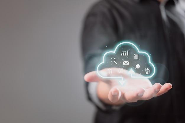 Cloud computing-apparaat om gegevensinformatie over te dragen en applicaties te uploaden en downloaden