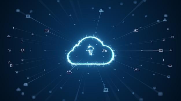 Cloud computing en big data-concept. 5g-connectiviteit van digitale gegevens en futuristische informatie. abstract hi-speed internet of things iot big data cloud computing.