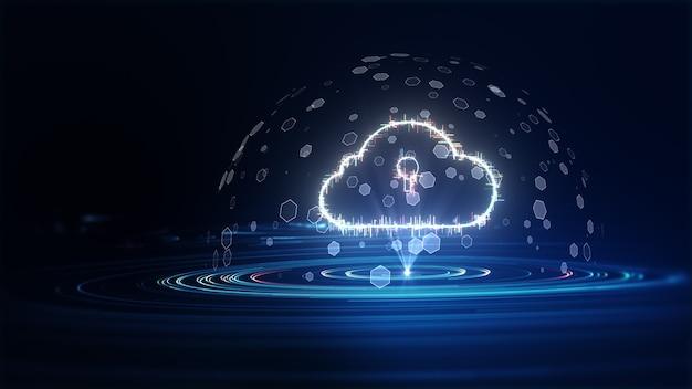 Cloud computing en big data-concept. 5g-connectiviteit van digitale gegevens en futuristische informatie. abstract hi-speed internet van dingen iot big data cloud computing. 3d-rendering