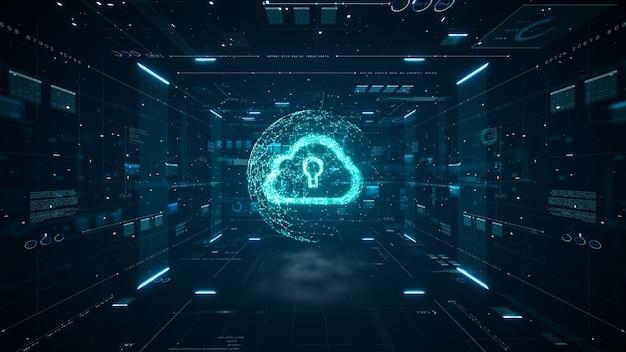 Cloud computing en big data-concept. 5g-connectiviteit van digitale gegevens en futuristische informatie. abstract hi-speed internet van dingen iot big data cloud computing.
