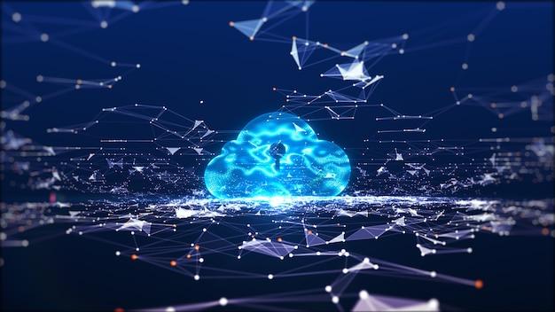 Cloud computing en big data-concept. netwerkconnectiviteit van digitale gegevens en futuristische informatie. abstract hi-speed internet van dingen iot big data cloud computing.