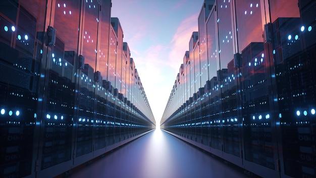 Cloud computing en computernetwerken concept: rijen netwerkservers tegen blauwe hemel met wolken. 3d-weergave.
