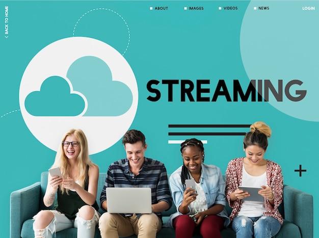 Cloud computing gegevens pictogram teken
