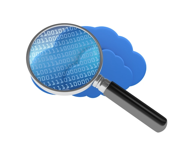 Cloud computing met binaire code en vergrootglas