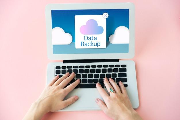 Cloud computing opslag pictogram concept