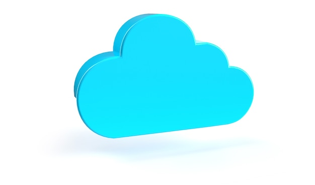 Cloud computing-symbool geïsoleerd. 3d-rendering