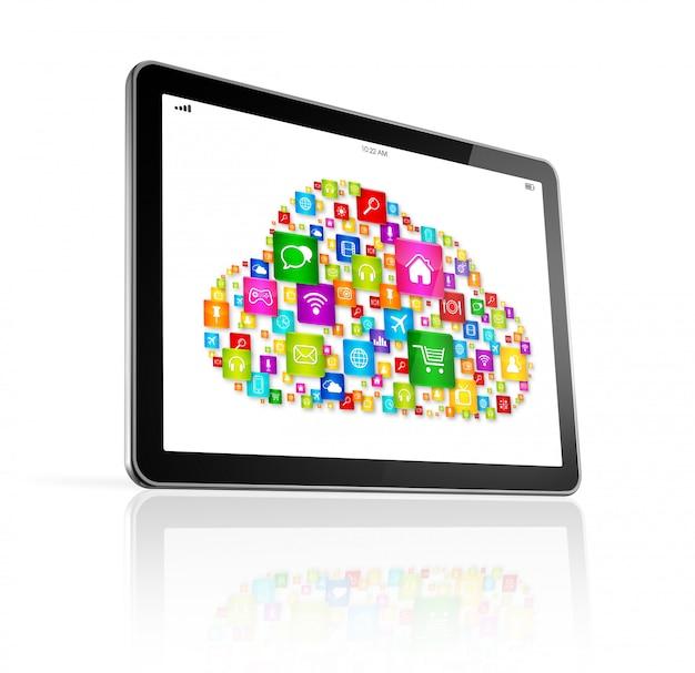 Cloud computing-symbool op digitale tablet-pc