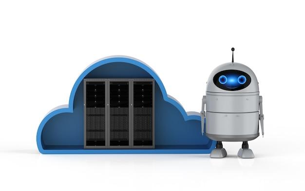 Cloud computing-technologie 3d-rendering android-robot met server in de cloud